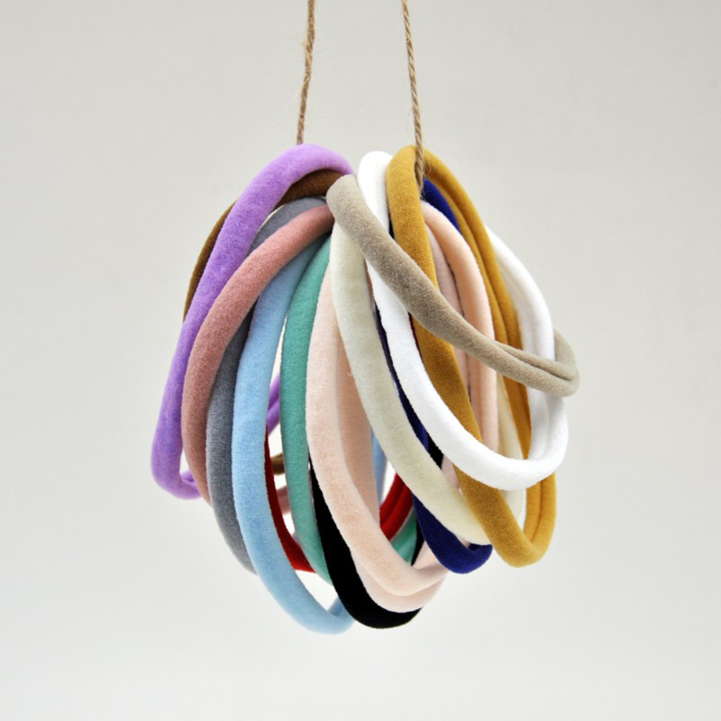 50pcs/lot Stretchy Thin Skinny Nylon Headband Soft Traceless Baby Headband Baby Hair Accessory DIY Crafting Queenbaby