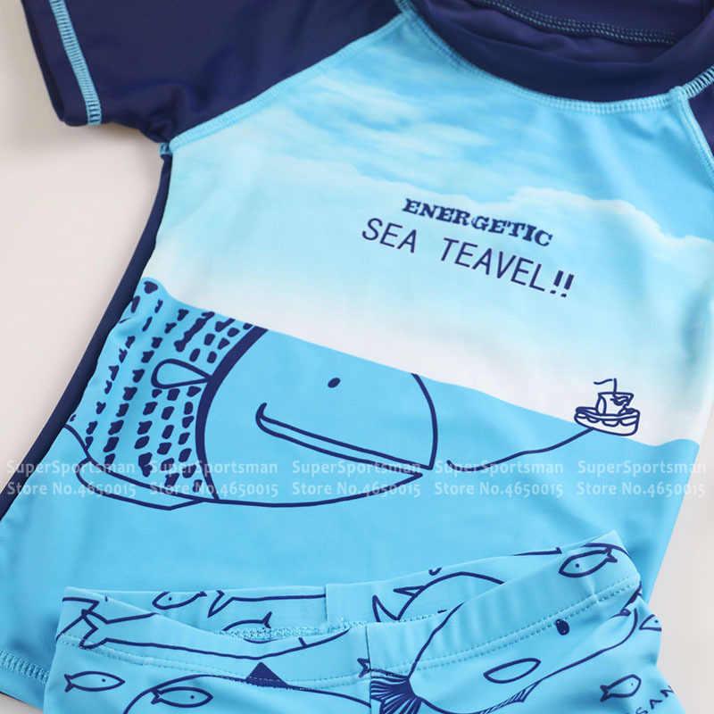 เด็กชุดว่ายน้ำฤดูร้อน + กางเกงขาสั้น + หมวกเด็กการ์ตูนว่ายน้ำ Rashguard เด็ก Surfing กีฬาชุดว่ายน้ำชุด