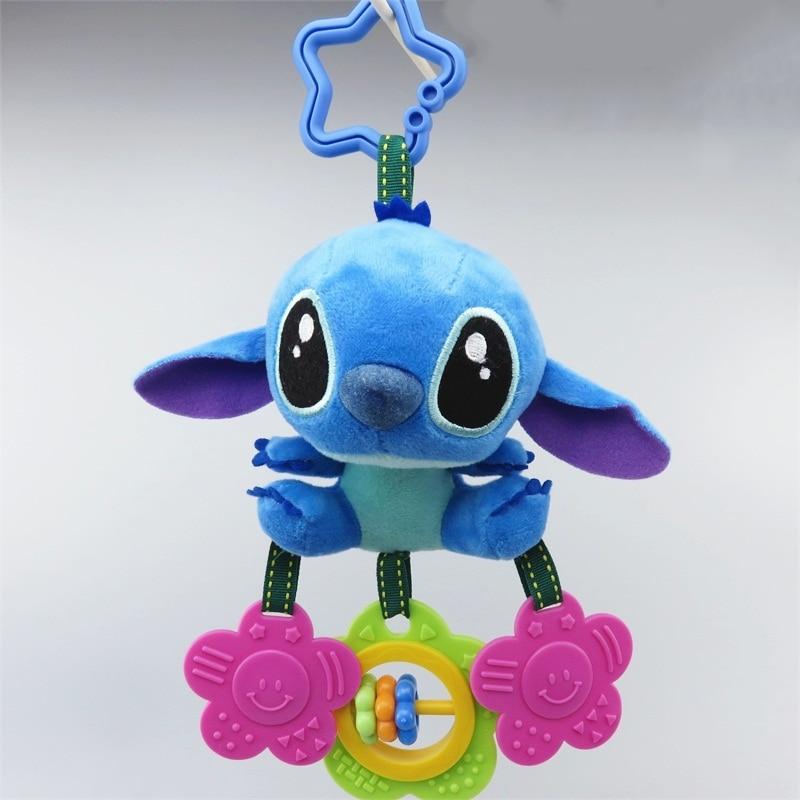 Cartoon Stitch Elephant Donkey Plush Toys Baby Rattle Hand Bell Baby Stroller Crib Hanging Rattles Christmas Birthday Gifts