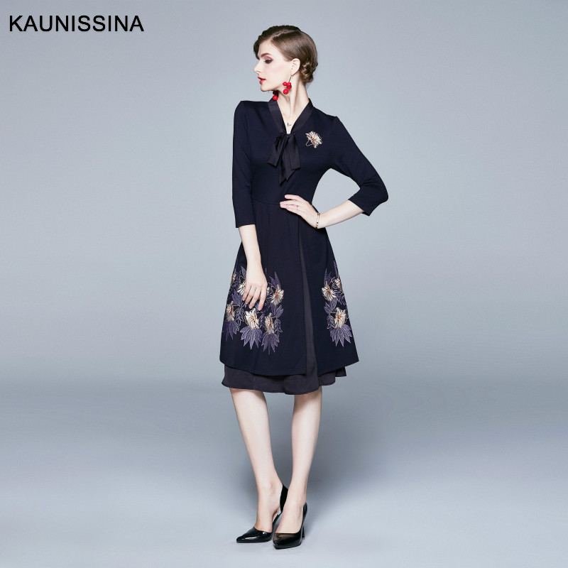 KAUNISSINA Elegant Cocktail Dress 2019 New Style Party Gown 3/4 Sleeve V-Neck Embroidery Vintage Autumn Winter Dress Vestidos