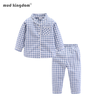 Mudkingdom Boys Girls Long Sleeve Pajamas Set Collared Plaid Autumn Cute Toddler Pajama Kids Sleepwear Children Clothes 1