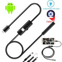 7MM endoskop kamera 2 in 1 USB Mini kameralar IP67 su geçirmez 6 LED Borescope muayene araç muayene android kamera PC