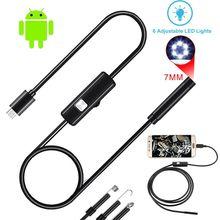 Cámara endoscópica de 7MM 2 en 1 Mini videocámaras USB IP67 impermeable 6 LED inspección por boroscopio cámara de inspección para automóviles para Android PC