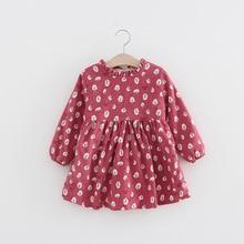 Fall Winter Toddler Girls Dress Long Sleeve Kids Dresses for 2 3 4 5 6 7 Year Girl Thick Warm Flower Children Princess Clothing цены