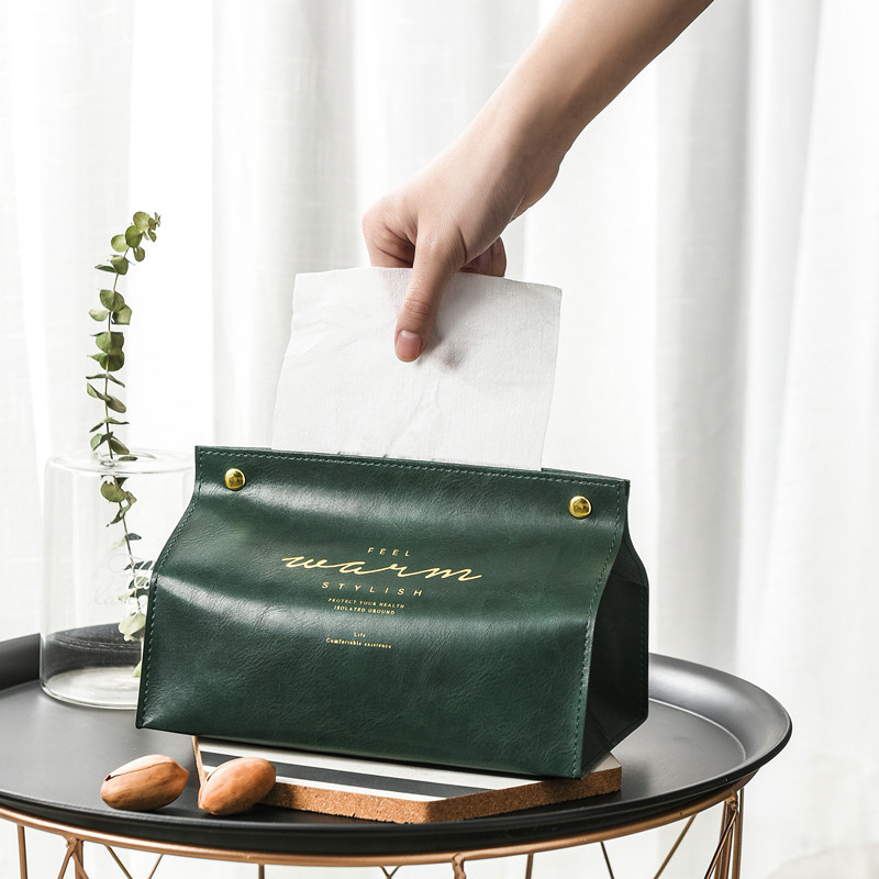 Nordic Leather Tissue Box Pumping Box Living Room Home Creative Tissue Cover Paper Bag Car Coffee Table Paper Pumping Box