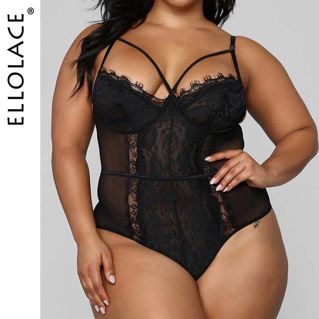 Ellolace Sexy Spitze Plus Size Body Sleveless Bodycon Push-up Overalls  4