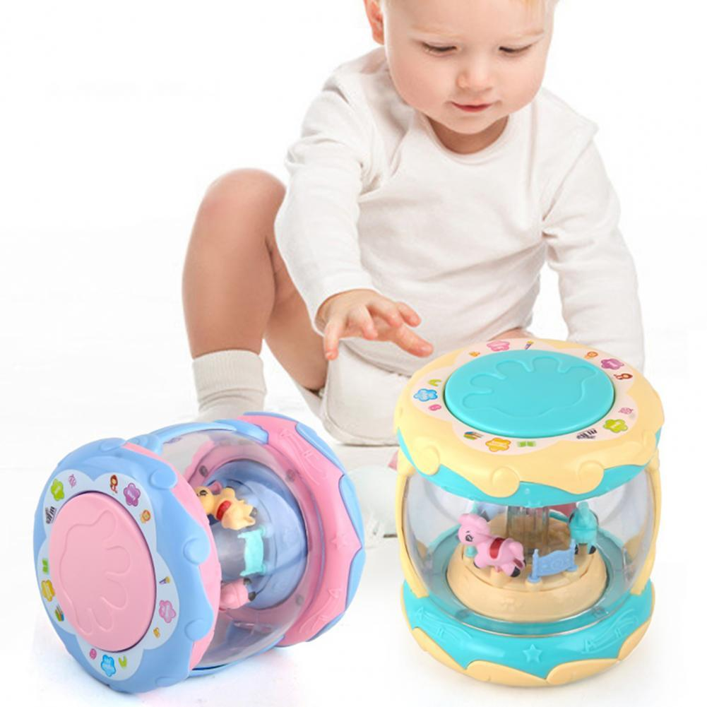 Baby Carousel Hand Drumming Educational Portable Cute 3D Projection Light Hand Pat Drum for Kids Games Toy