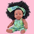 Hot Selling 30 Centimeter Black Doll Africa Doll PVC Doll Hair Curly Hair Bald Model Infant Doll