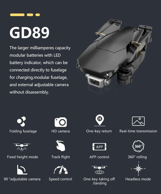 RCtown GD89 WIFI FPV with 1080P HD Camera 15 Minutes Flight Time High Hold Mode Foldable Arm RC Quadcopter Drone VS E58 MAVIC 2