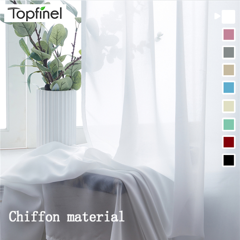 Topfinel Sheer Curtains For Living Room Bedroom Chiffon Tulle Window Treatment Curtains For Kitchen European And American Style