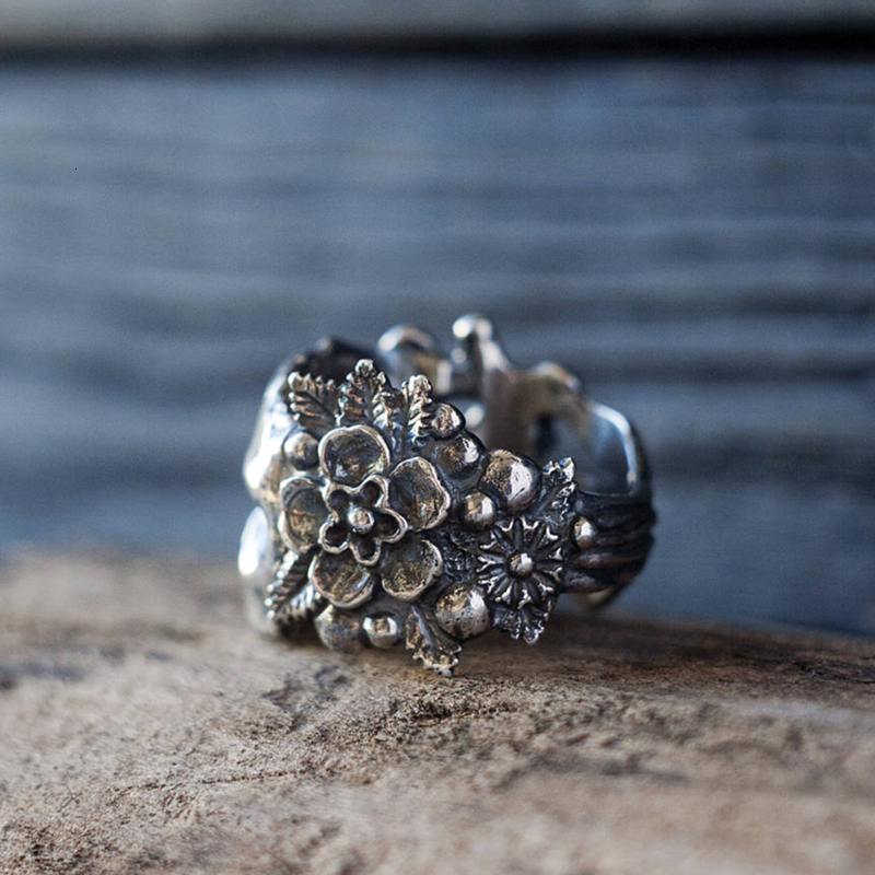 H632869f224734c0486ea887dccde8a44P - EYHIMD Gothic Mexican Flower Sugar Skull Rings Women Silver Stainless Steel Punk Flowers Ring Jewelry