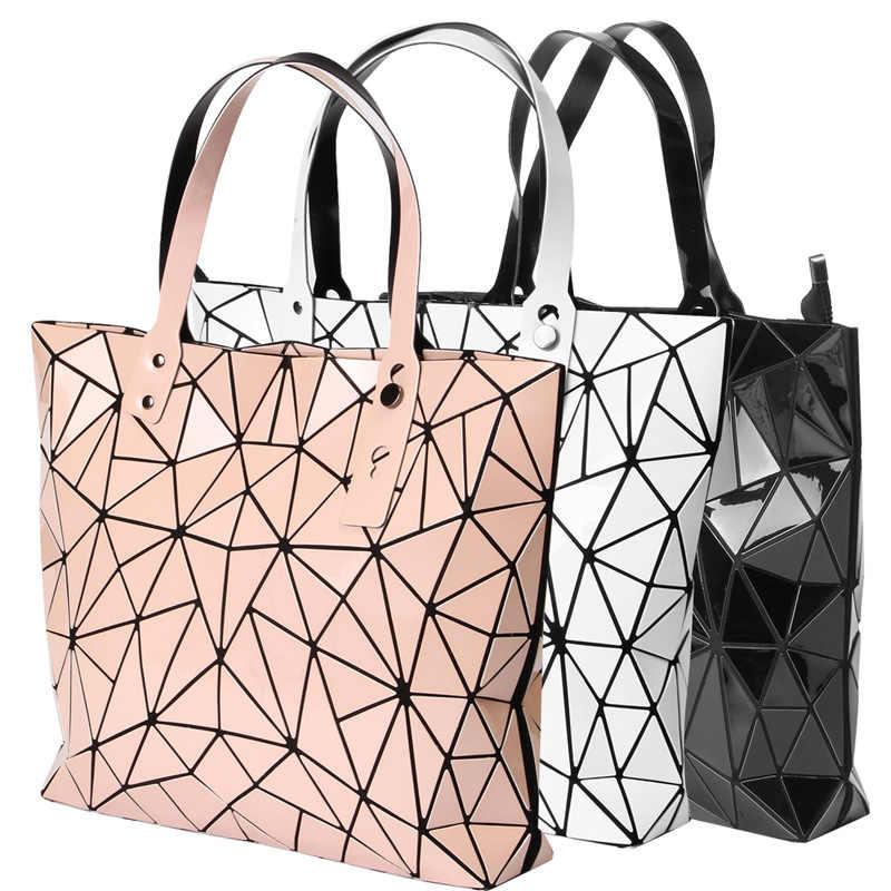 Bolsa para mulher 2018 nova versão coreana diamante bolsa a laser dobrável saco do plutônio feminino elegante bolsa de ombro