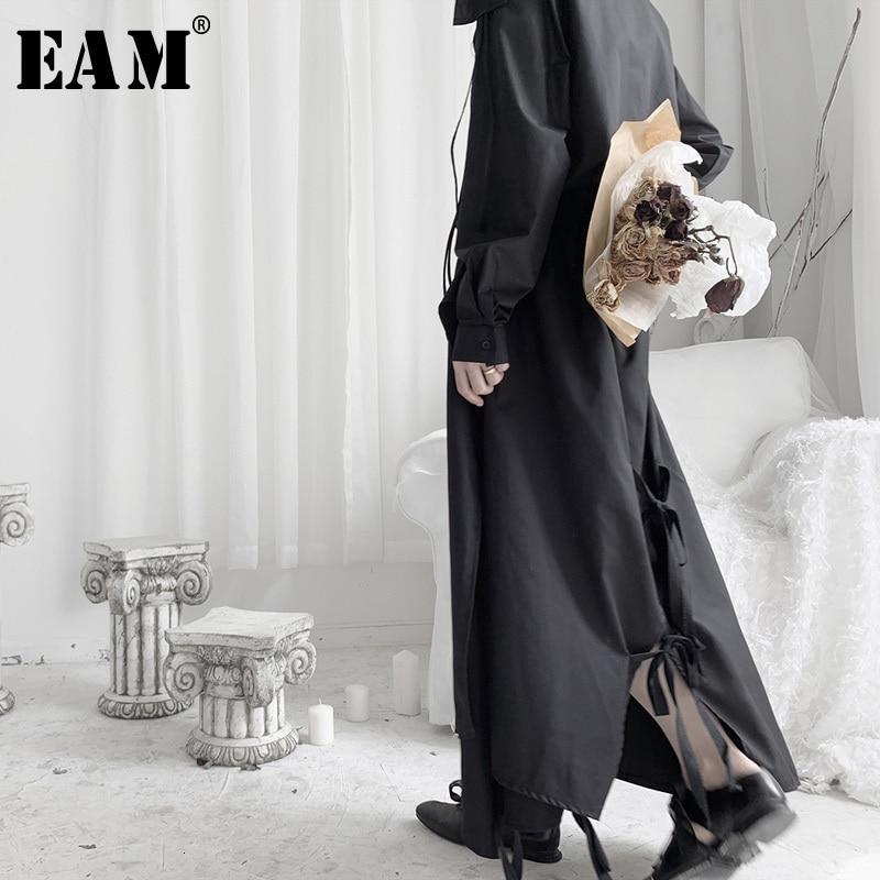 [EAM] High Elastic Waist Black Back Bandage Asymmetrical Half-body Skirt Women Fashion Tide New Spring Autumn 2020 19A-a602