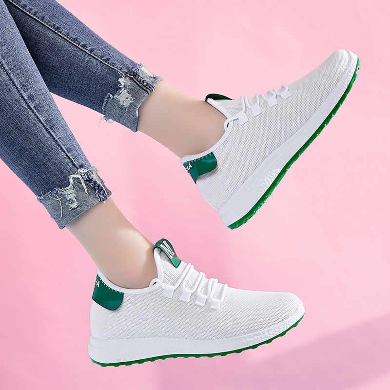 Zapatillas De deporte De malla blanca transpirables nuevos Zapatos planos De punta redonda Mujer Primavera Verano moda naranja verde Zapatos De Mujer