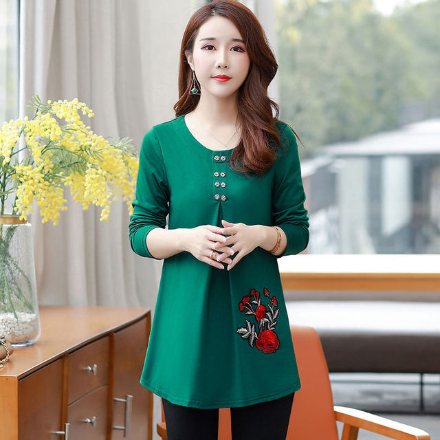 New Women's Spring Autumn Style Blouse Shirts Women's O-Neck Loose Button Embroidery Long Sleeve Temperament Casual Tops DD8332 2