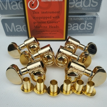 Genuine Grover Gold Electric Guitar Machine Heads Tuners Gold Tuning Pegs ( With packaging ) image