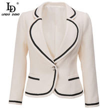 Jacket LINDA DELLA Coat Sprint Long-Sleeve Female Single-Button Fashion-Designer Women