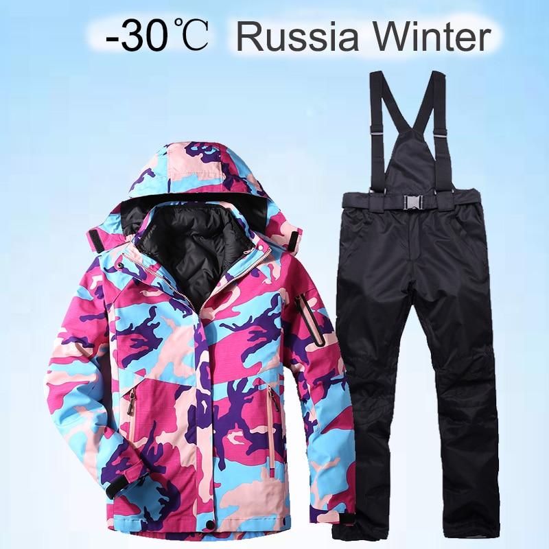 New Women's Ski Suit Super Warm Waterproof Windproof Snowboard Jacket Snow Pants Suits Skiing Snowboard Sets Women's Winter Suit