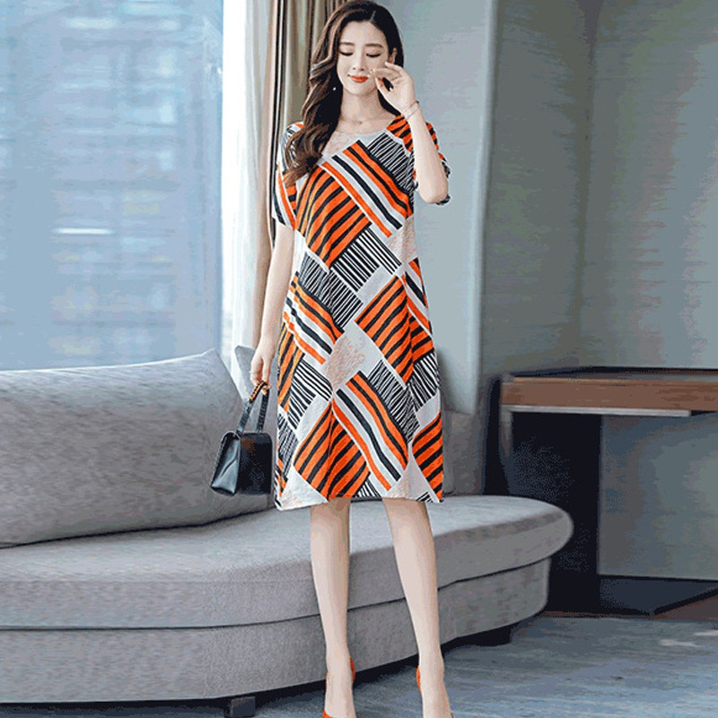 Newest 2020 Women Striped Dress Simple O Neck Short Sleeve Dresses Vintage Casual Loose Midi Dress #2020.7.1