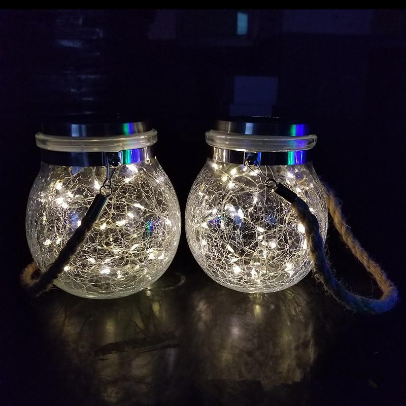SOLLED 30 LEDs Solar Night Light Crack Ball Glass Jar Wishing Lamp Outdoor Garden Tree Decoration Light
