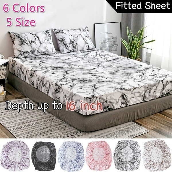 1 2 3Pcs Elastic Fitted Sheet Deep Pockets Up To 16 Inches Marble Printed Brushed Microfiber