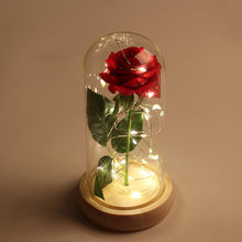 beauty and the beast rose in glass dome , Artificial flowers red fake rose christmas wedding decorations,valentines day gift(China)