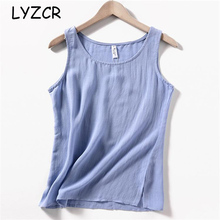 LYZCR Sleeveless Cotton Line Blouse Women White Summer Womens Tops And Blouses Casual White