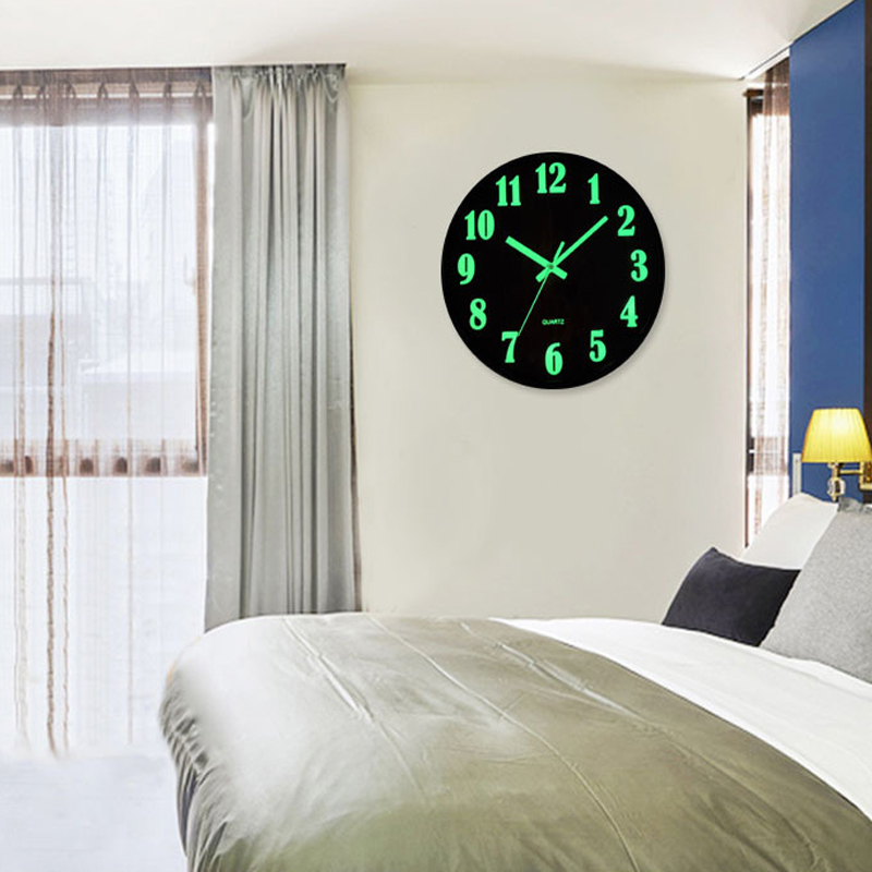 12 quot Wall Clock Luminous Silent Quartz Home Decoration Living room Bedroom Creative Digital Number Wall Hanging Clock Glow in Wall Clocks from Home amp Garden