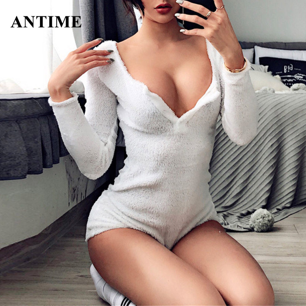 Antime Sexy Thick Women Bodysuit Fleece Skinny Long Sleeve Solid Button Women Tops Autumn Winter Bodycon Rompers Clothes