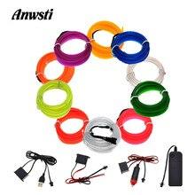 1M 2M 3M 4M 5M Flexible Neon Light Glow EL Wire Rope Tape Cable Strip 3V 5V 12V LED Neon Lights Shoes Car Waterproof LED Strip