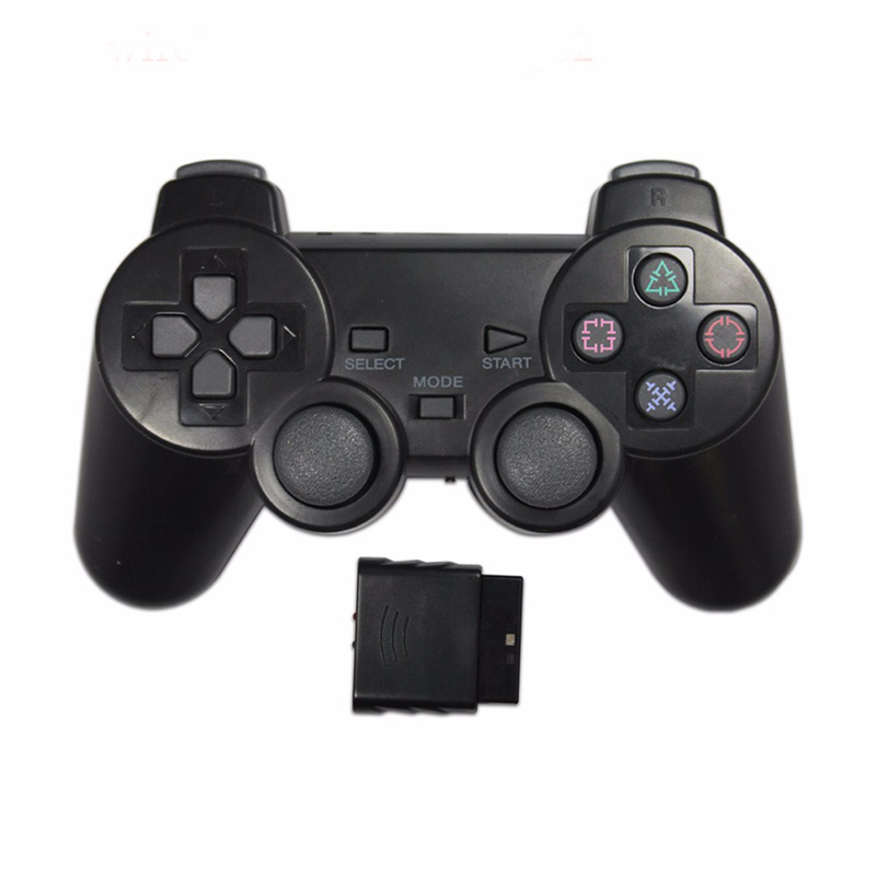 Şeffaf renk oyun denetleyicisi Sony PS2 kablosuz gamepad 2.4GHz titreşim Controle Gamepad Playstation 2 için