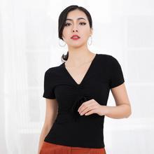 V Neck Short Sleeve Dance Top with Drawstring 226-656 shirred drawstring split sleeve top