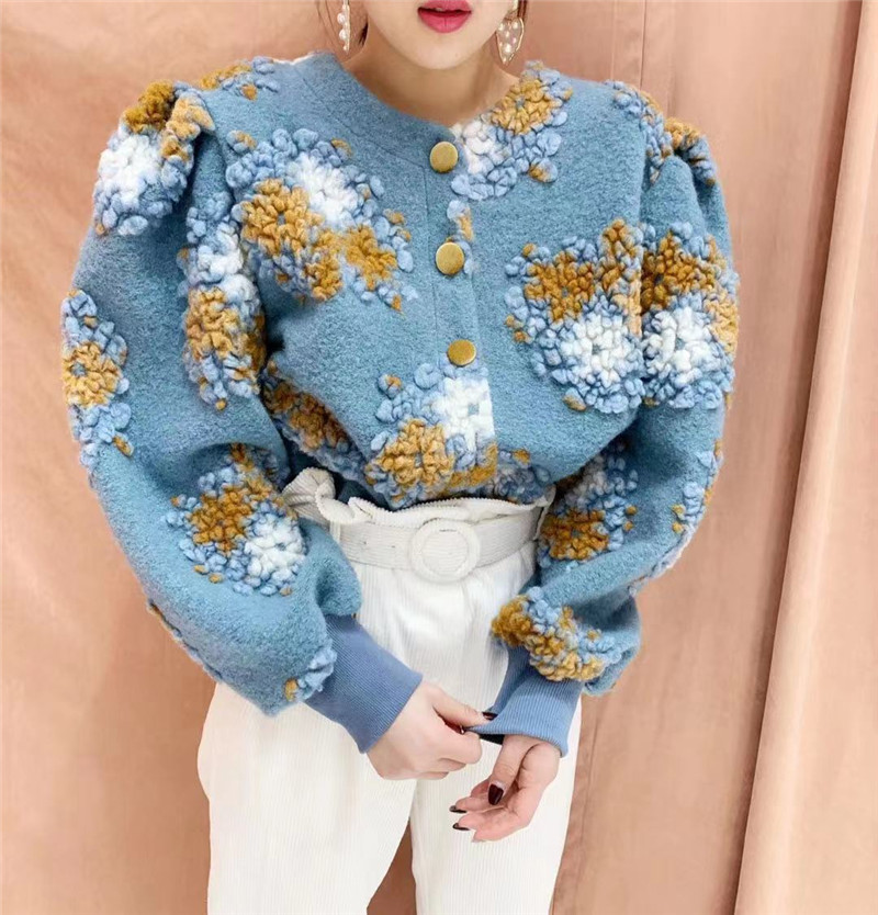 RUGOD Fashion Embroidery Cardigan Women Puff Sleeve Fluffy Knitted Coat Cashmere Sweater New Spring High Quality Floral Cardigan