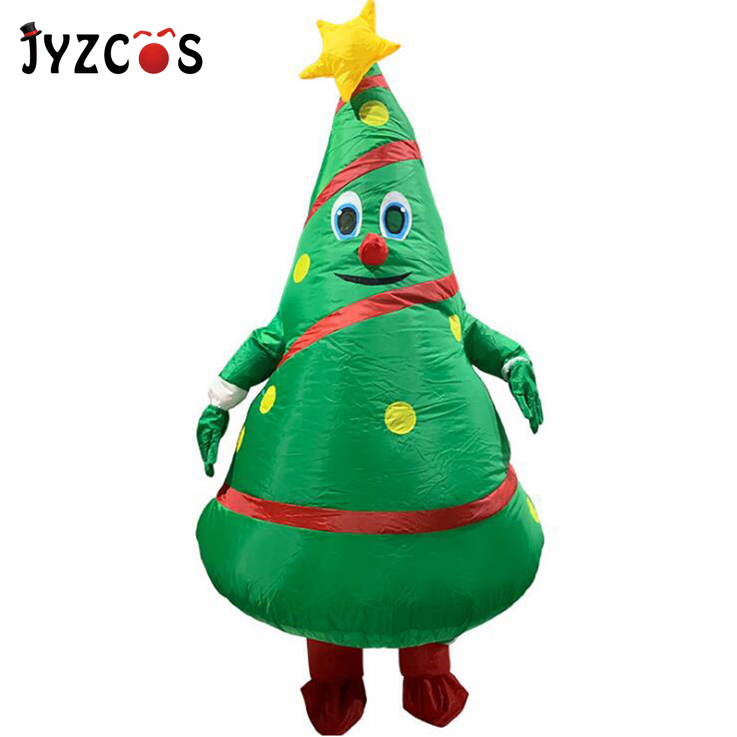 JYZCOS Christmas Cartoon Doll Costume Anime Inflatable Santa Claus Dress Up Props Funny Mascot Inflatable Christmas Tree Clothes