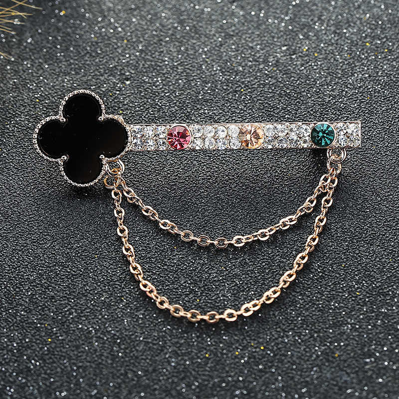 Korean-style Full of Crystals Tassels Chain Brooch Women's Alloy Clover Collar Pin Scarf Buckle New Style Cross Border Accessori