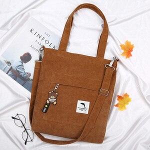 Image 4 - 2020 bolsa feminina de veludo com zíper de ombro bolsa de lona de algodão bolsa casual tote feminino crossbody saco das senhoras do vintage