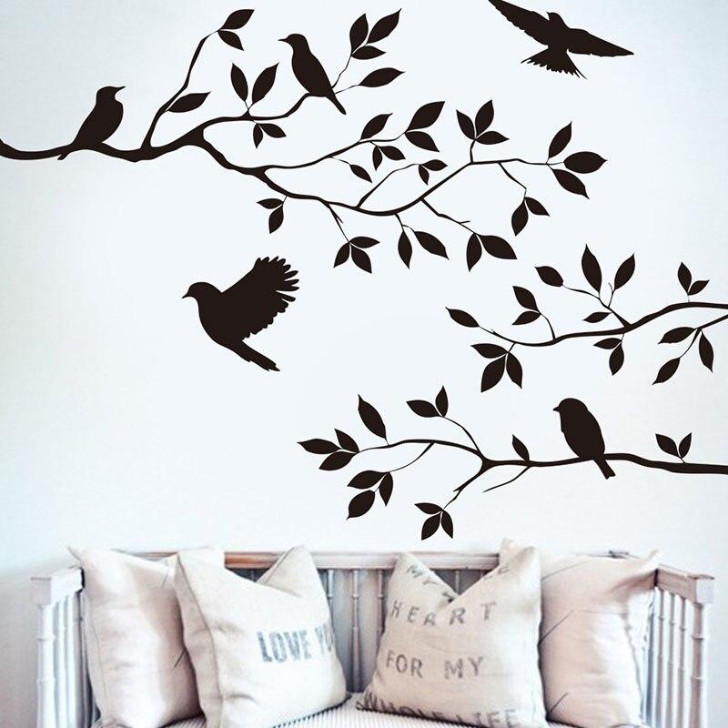 Pegatinas de pared de rama de pájaro para niños, vinilo decorativo de hoja de árbol para el hogar, sala de estar, accesorios, papel tapiz, calcomanías de dormitorio