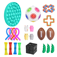 22 IN 1 Fidget Sensory Toys Pack Pop Antistress Simple Dimple it Stress Relief Toy for Kids Adults Pop Bubble Rainbow Ball Gift