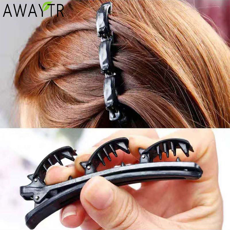 AWAYTR Double Layer Bands Clip Hairbands Fashion Plastic Braided Headband Punk New Knitting Womens Headwear Hair Accessories