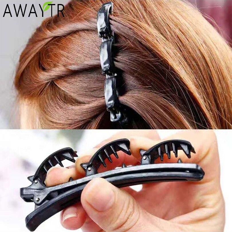 AWAYTR doble capa de bandas de cintas de plástico de moda trenzado banda Punk nuevo punto tocado para Mujer Accesorios para el cabello