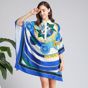 Image 4 - 2019 סתיו אופנה גלימת שמלה באיכות גבוהה די תורו למטה צווארון נשי רופף פאייטים שמלה