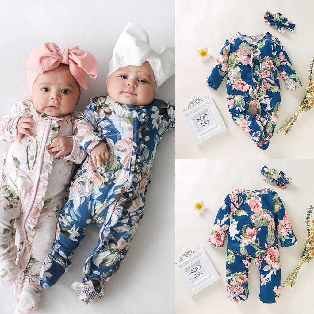 Baby Long Sleeve Jumpsuit Newborn Infant Baby Girls Boys Floral Print Sleeper   Romper   Headband Outfits Set Roupas Kids Clothing
