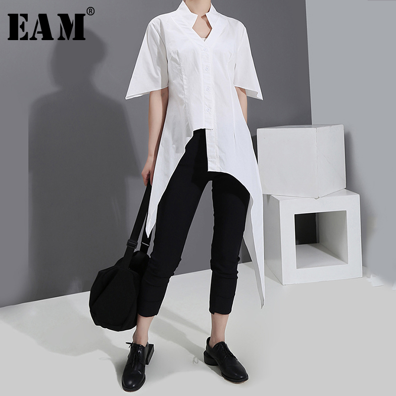 [EAM] Women White Asymmetrical Split Joint Blouse New V-collar Short Sleeve Loose Fit Shirt Fashion Spring Summer 2020 1S543