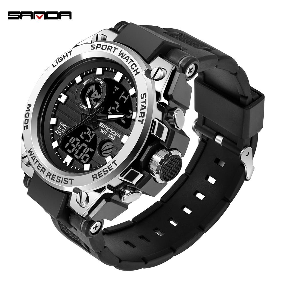 SANDA G Waterproof Alarm Mens Watches Top Brand Luxury S-SHOCK Digital Led Sports Watch Men Clock Wristwatch Relogio Masculino