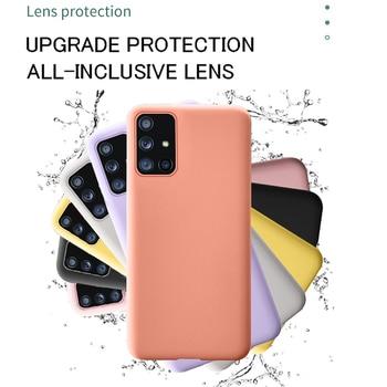 Pour Samsung A50 A70 A51 A71 S8 S9 S10E S20 Plus Silicone Liquide Souple Housse Pour Galaxy Note 8 9 10 Plus A20 A30 A40 S7 Bord 2