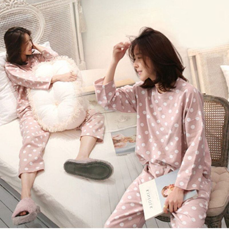 Womens Pajamas Sets Round Neck Cartoon Spring Printed Kawaii Totoro Cartoon Sleepwear Nighty Autumn Winter Pajamas Female