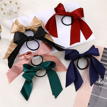 IFMIA Korean Bow-Knot Elastic Hair Bands Accessories Fashion Hair Band Long Ribbon Bow Ponytail Hair Tie Scrunchies Women Girls 2
