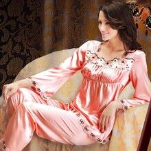 Luxurious Satin Silk Pajamas Set Women Pijamas Femininos Inverno Comprido Plus Size Lace Trim Sleepwear S-XXXL 4XL 5XL