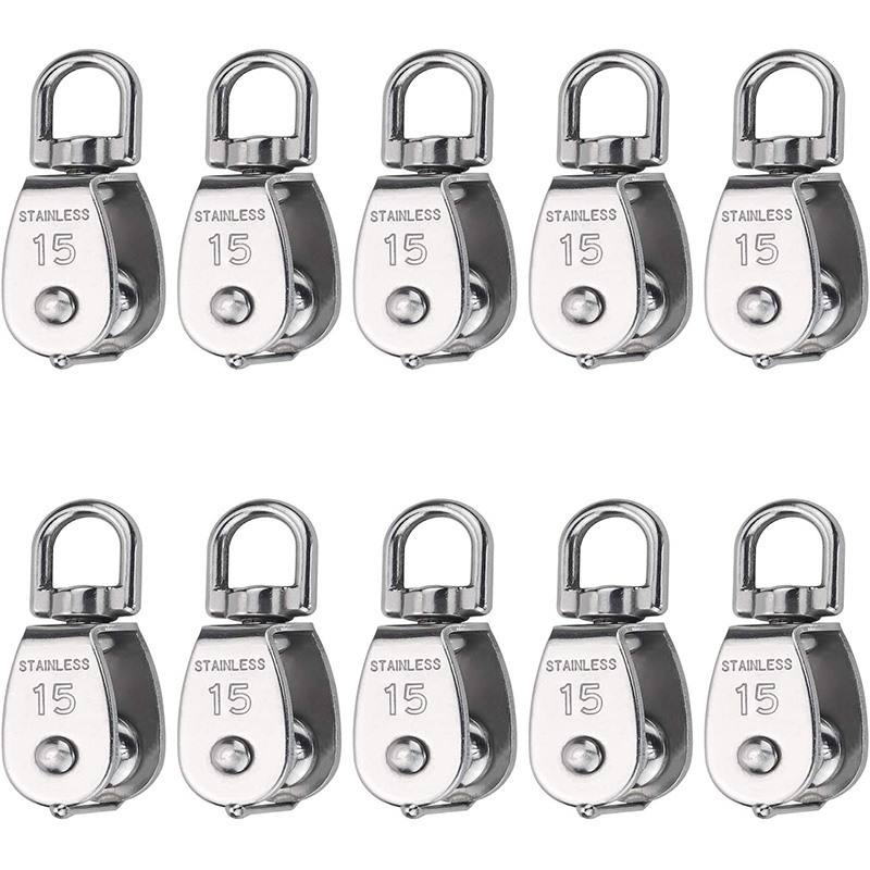 10 Pcs Wire Rope Pulley Block Lifting Swivel Hook Single Pulley Block Hanging Wire Towing Wheel(M15)
