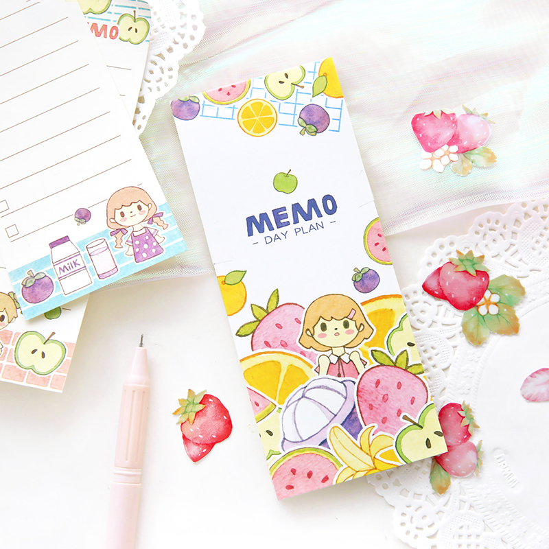 1Set/1lot Memo Pads Sticky Notes Cartoon Girl Travel Paper Notepad Diary Scrapbooking Stickers Office School Stationery Notepad